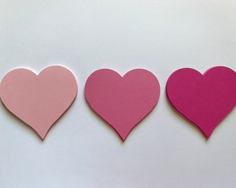 Shades of Pink Heart Die Cuts - Pink Heart Decorations - Pink Wedding Decorations - Heart Guestbook - Wedding Wishing Tree - Scrapbooking