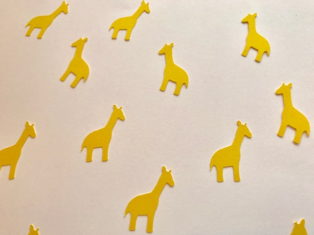 Yellow Giraffe Confetti - Jungle Baby Shower - Jungle Birthday Party - Giraffe Decorations - Jungle Party Decor - Jungle Animal Confetti