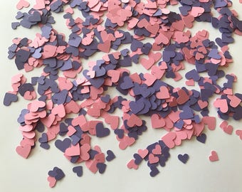 Mini Pink and Purple Heart Confetti - Pink and Purple Wedding Decorations - Pink and Purple Baby Shower Decorations - Heart Decorations
