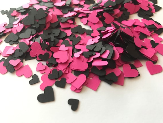 Mini Pink And Black Heart Confetti Pink And Black Etsy