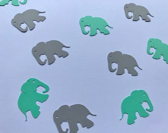 Mint and Grey Elephant Confetti - Mint and Grey Baby Shower Decor - Elephant Baby Shower Decor - Elephant Birthday Party Decor - Mint Decor