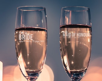 Engraved Champagne flute, Custom Champagne flute, Personalized Champagne flute, Bridal party, Custom Champagne flute, For Her, Wedding Gift