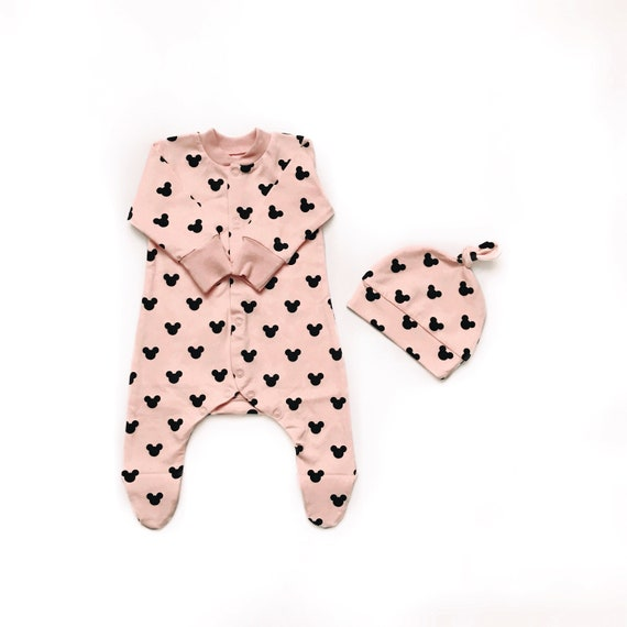 16fa65a2c Mickey mouse footie pink baby footie organic baby   Etsy