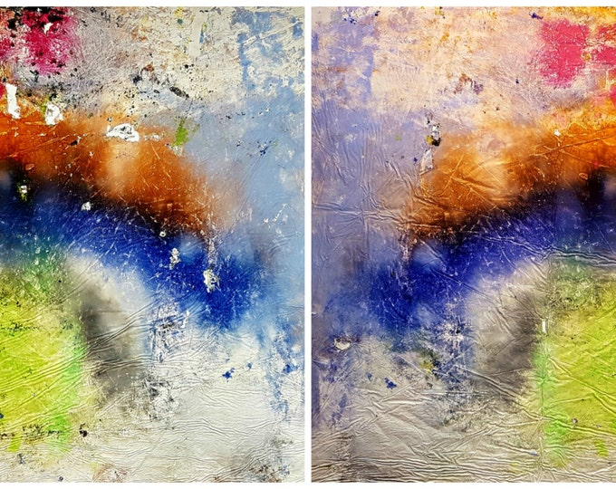 I'm looking for you (n.272) - 180 x 82 x 2,50 cm - diptych - ready to hang - acrylic painting on stretched canvas