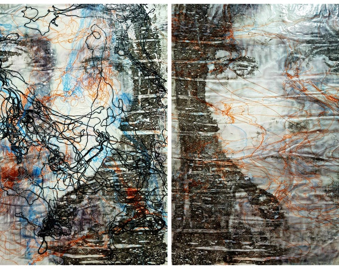 The rain and the sun (n.343) - 102,00 x 71,00 x 2,50 cm - diptych - ready to hang - mix media painting on stretched canvas