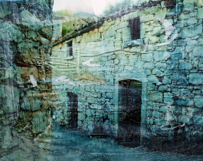 Ancient hamlet (n.304) - 87 x 58 x 2,50 cm - ready to hang - mix media painting on stretched canvas