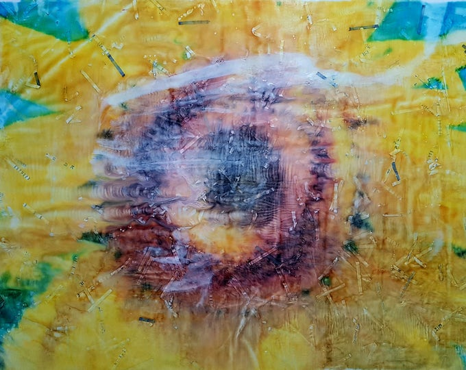 Girasole (n.316) - 75 x 49 x 2,50 cm - ready to hang - mix media painting on stretched canvas
