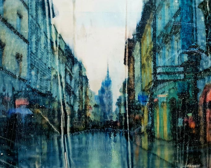 NOT AVAILABLE !!! - Krakow (n.330) - 48 x 85 x 2,50 cm - ready to hang - mix media painting on stretched canvas