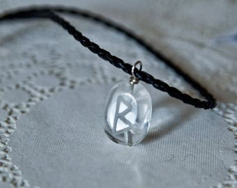 Custom glass pendant etsy big personalized crystal pendant rune glass jewelry glass bead engraved initial mother necklace custom initial charm monogram jewelry aloadofball Images