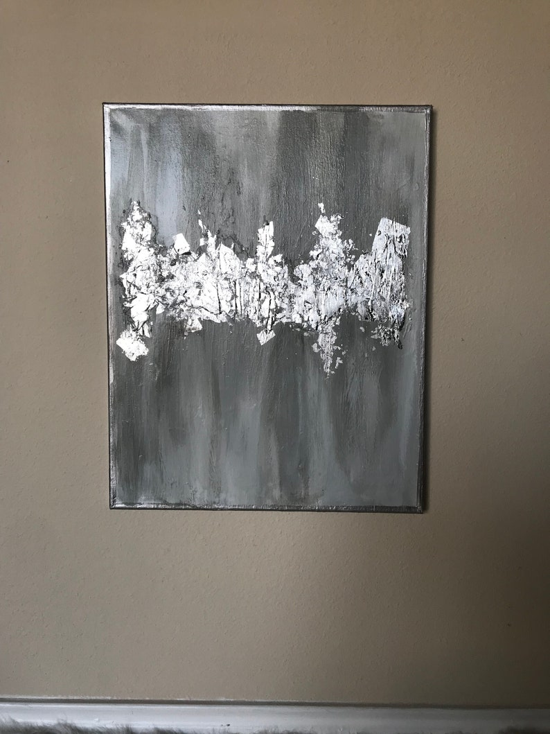 52aad9bcdc5 Silver leaf painting  Grey painting  Gold Leaf painting