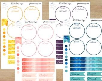 Erin Condren Life Planner Watercolor Sticker Note Sheet