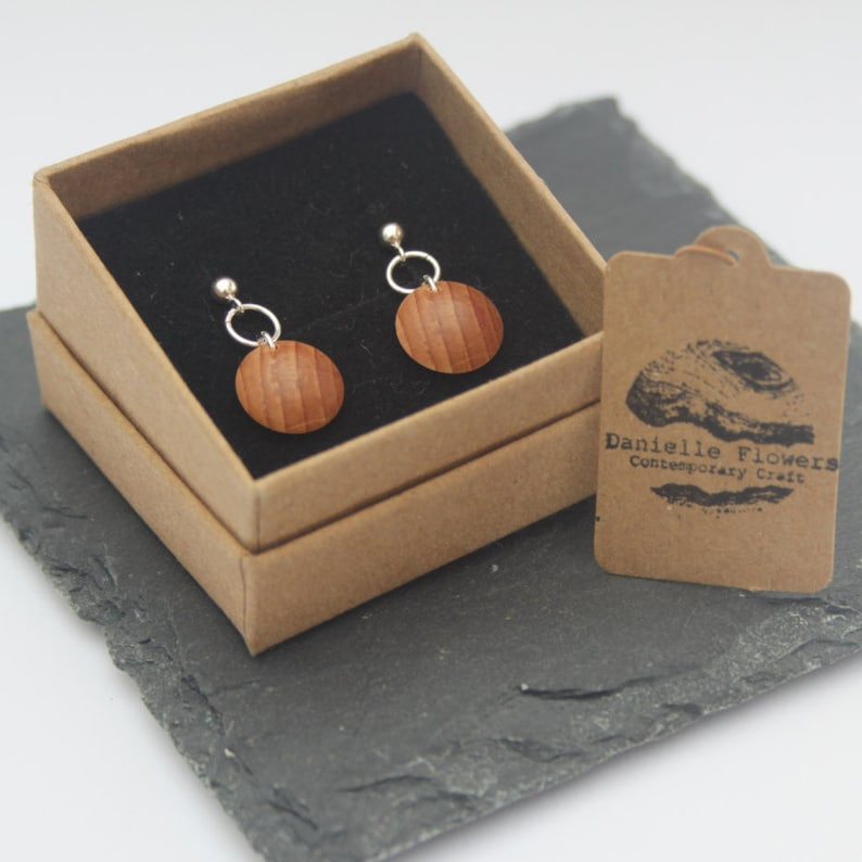 Wood Turned Yew Stud Earrings 925 Sterling Silver Decorative image 0