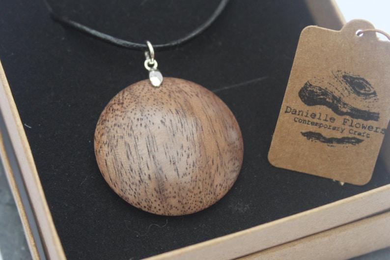 Wood Turned Black Walnut Necklace 925 Sterling Silver image 0