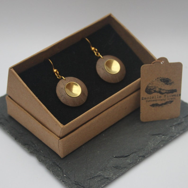 Wood Turned Black Walnut Drop Earrings Gold Plated Findings image 0