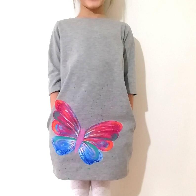 Butterfly Dress Light GreyComfy Dress Hand Painted Cotton Dress Play Dress Cotton Jersey Cocoon Dress