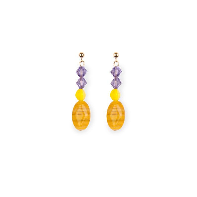 Yellow+Purple Ear pin Model A6 EARRINGS