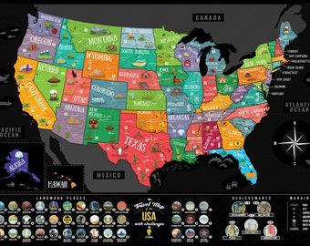 scratch off map of america glow in the dark us map scratch etsy