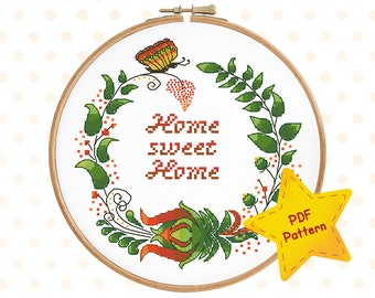 Home sweet home cross stitch pattern, Floral wreath xstitch, Housewarming chart, Butterfly pattern Colorful flower Instant download PDF #001