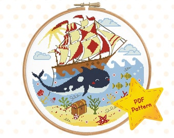 Killer whale cross stitch pattern, Orca cross stitch Nautical nursery cross stitch Travel cross stitch Baby room, Instant download PDF #006