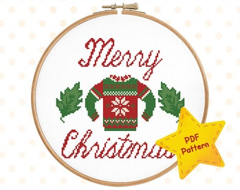 Christmas ugly sweater cross stitch pattern Scandi Merry Xmas chart Easy beginner Holiday embroidery Winter chart, Instant download PDF #003