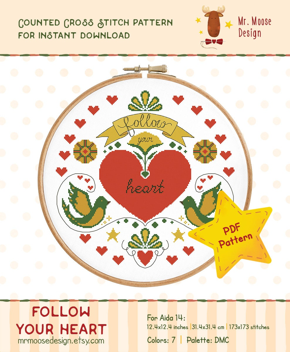 Love Cross Stitch Pattern instant download PDF chart Watercolor heart embroidery design home decor