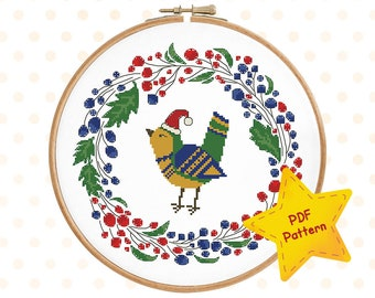 Christmas bird cross stitch pattern Floral wreath cross stitch Winter cross stitch Merry Xmas chart Holiday decor Instant download PDF #004
