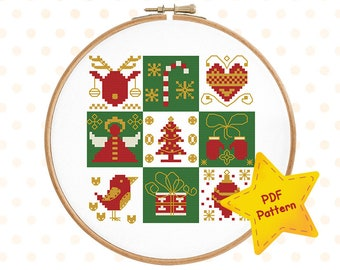 Christmas sampler cross stitch pattern Winter cross stitch Holiday ornaments Happy Merry Xmas Candy cane Instant download PDF #002