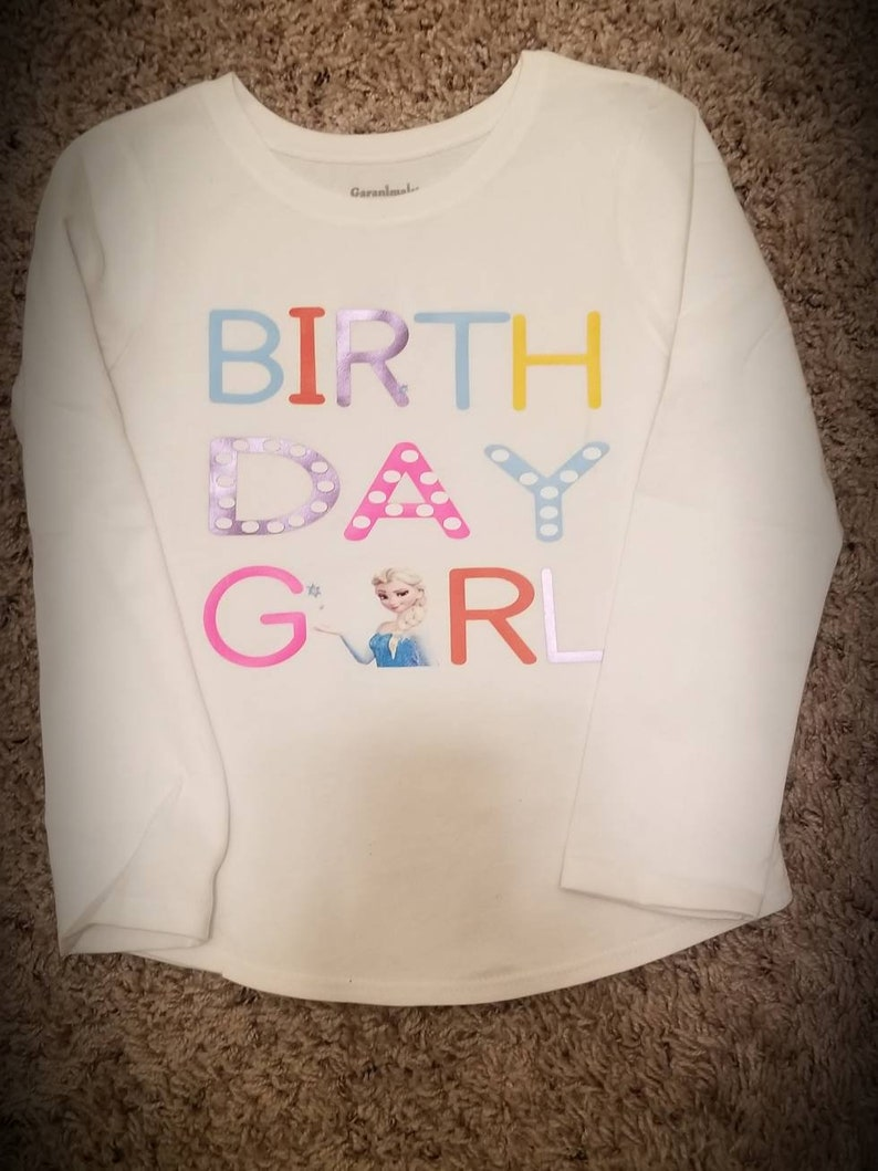 Personalised Frozen Birthday t-shirt Boys Girls Top Age Size Elsa Anna Olaf Gift