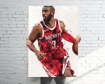 ffa5b67d0db3 Chris Paul Houston Rockets - Sports Art Print Poster - Watercolor Abstract  Paint Splash - Kids Decor - Gifts for Men - Man Cave