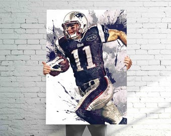 Julian Edelman New England Patriots - Sports Art Print Poster - Watercolor Abstract Paint Splash - Kids Decor - Gifts for Men - Man Cave