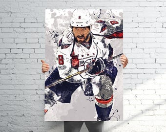 Alex Ovechkin Washington Capitals - Sports Art Print Poster - Abstract Paint Splash - Kids Decor - Gifts for Men - Man Cave