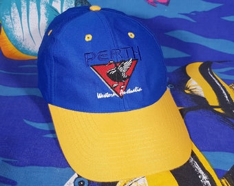 22b620390d9dc 90s Perth Cap Vintage 5 Panel Blue Yellow Hat Australia Y2K Snap Back  Baseball Cap Grunge Streetwear Spellout Logo Party Festival Retro