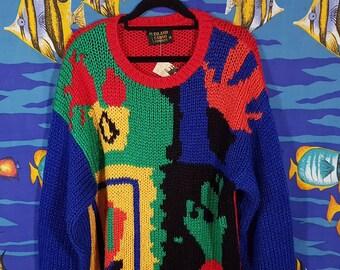 0bc389e543 Vintage 90s Rainbow Pattern Knit Sweater