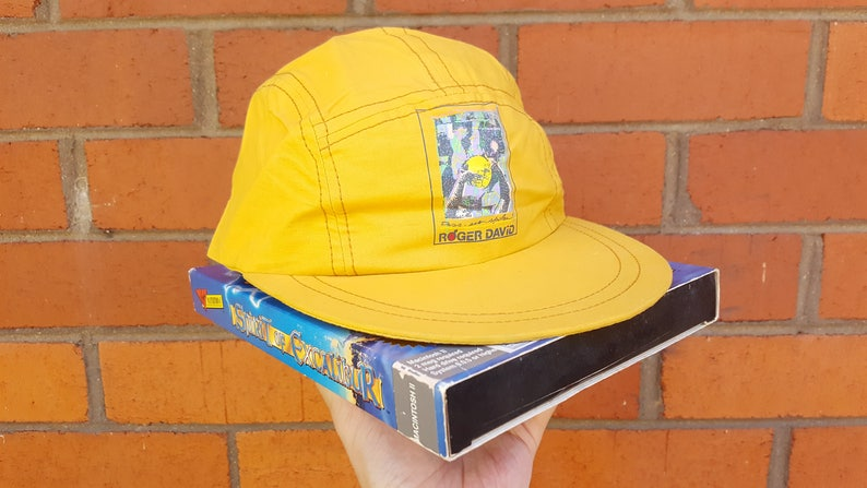 5d7aa258172a4 90s Yellow Cap Vintage 5 Panel Hat Snap Back Baseball Cap