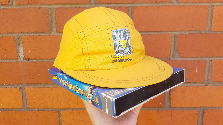 3ce53043324 90s Yellow Cap Vintage 5 Panel Hat Snap Back Baseball Cap
