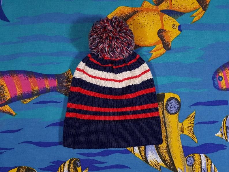 4256514498f434 Vintage Wool Beanie 90s Grunge Striped Pattern Pom Pom Ugly   Etsy