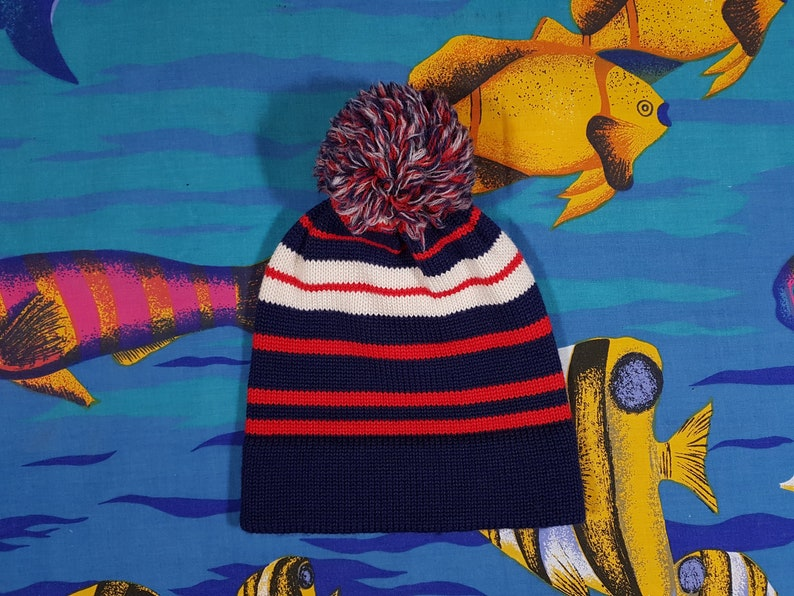 b69a4c0200ffd Vintage Wool Beanie 90s Grunge Striped Pattern Pom Pom Ugly