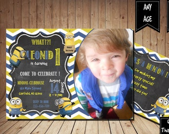 Minions Birthday Invitation with Picture BOYS Birthday Party Printable -  5x7 or 4x6 and FREE Thank You Card Printable 5x3.5