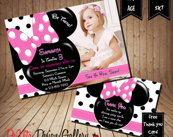 Minnie mouse birthday invitation etsy minnie mouse birthday invitation with picture girls birthday party printable 5x7 or 4x6 and free thank you card printable 5x35 filmwisefo