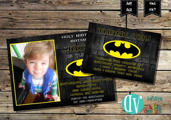 batman birthday invitation with picture boys birthday party etsy