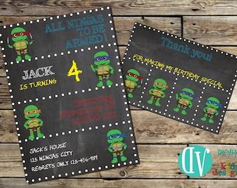 Ninja Turtles Birthday Invitation Printable  5x7 or 4x6 and FREE Thank You Card Printable 5x3.5