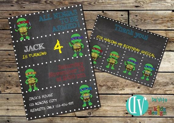 Ninja Turtles Birthday Invitation Printable 5x7 Or 4x6 And