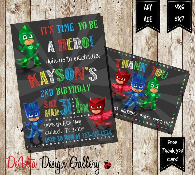 Pj Masks Invitation Birthday PJ Free Thank You Card
