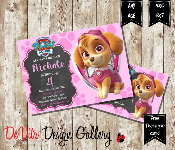 Paw Patrol Invitation Birthday SKYE