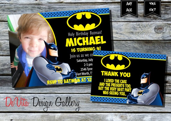 graphic relating to Batman Birthday Invitations Printable Free named Batman Birthday Invitation with Think about BOYS Birthday Celebration Printable - 5x7 or 4x6 and Absolutely free Thank Yourself Card Printable 5x3.5