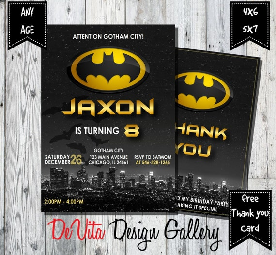 Batman Birthday Invitation Party Printable FREE THANK YOU Card Digital File
