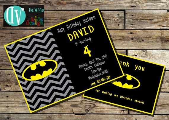Batman birthday invitation printable 5x7 or 4x6 and free etsy image 0 filmwisefo