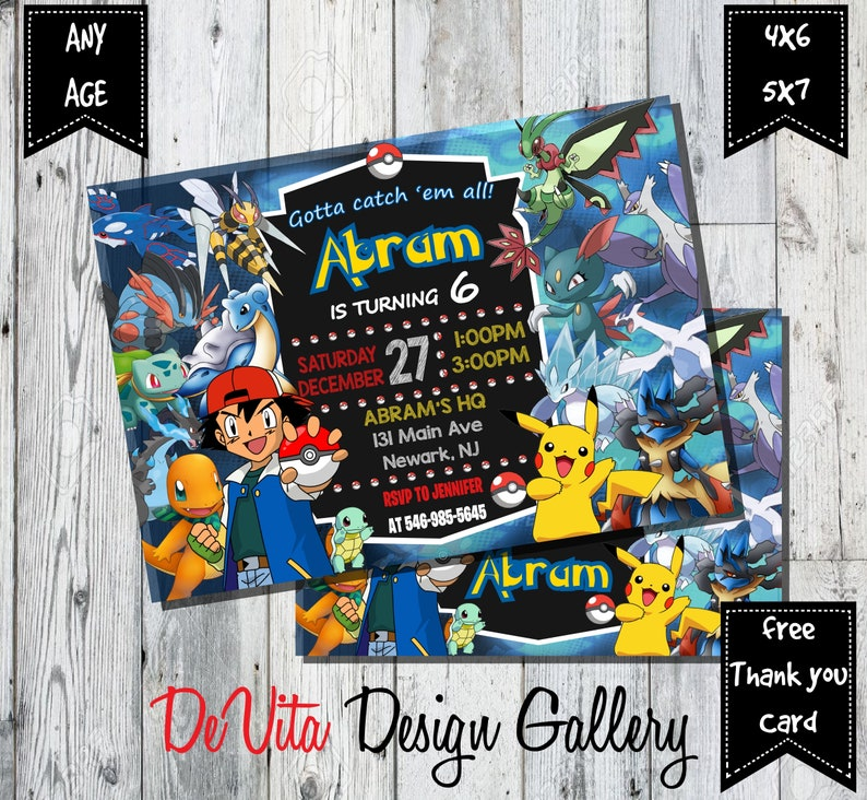 Pokemon Invitation Birthday Card Party Go FREE THANK YOU