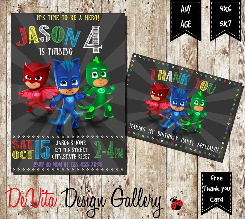 Pj Masks Invitation Birthday PJ