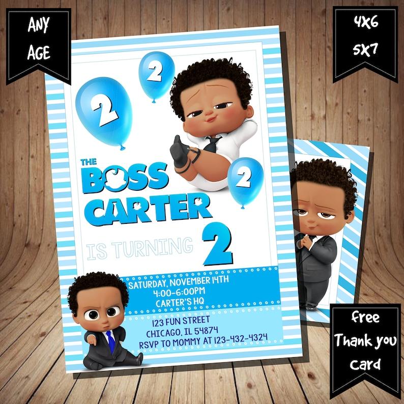 African American Boss Baby Invitation African American Boss Etsy